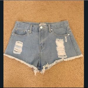 Forever21 Light Denim Frayed Shorts